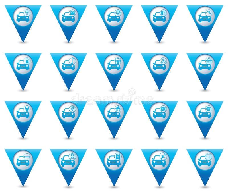 обслуживание замены масла автомобиля шара поднятое подъемом Комплект голубых указателей карты иллюстрация вектора