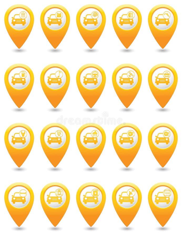 обслуживание замены масла автомобиля шара поднятое подъемом Комплект желтых указателей карты иллюстрация вектора