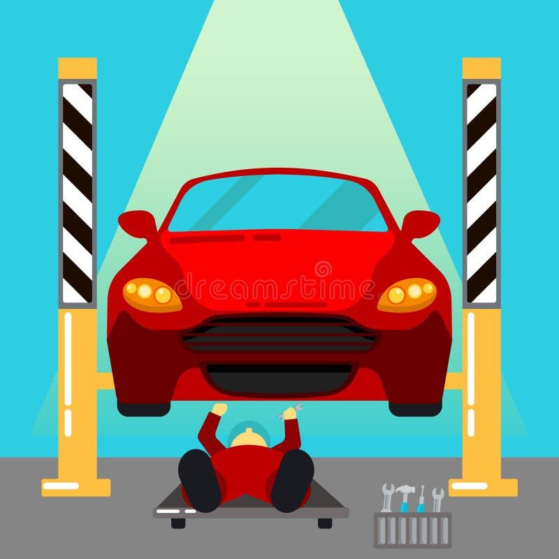 обслуживание замены масла автомобиля шара поднятое подъемом Ремонты и диагностики автомобиля Автоматическое обслуживание иллюстрация штока