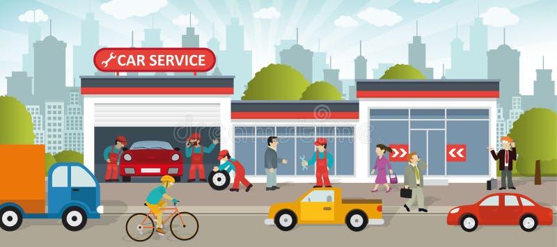 обслуживание замены масла автомобиля шара поднятое подъемом бесплатная иллюстрация