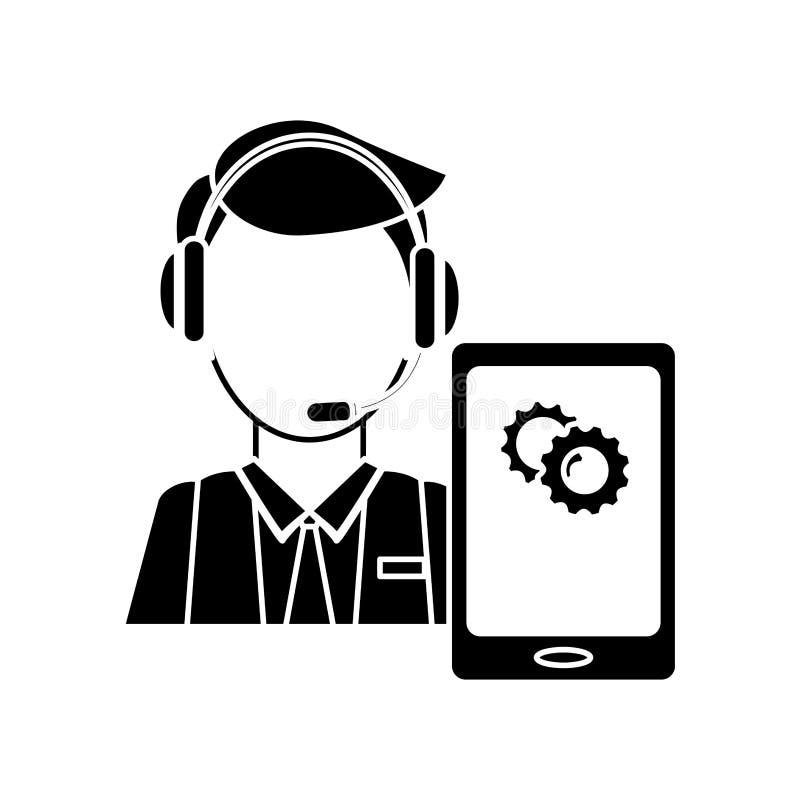 обслуживание или центр телефонного обслуживания онлайн поддержки техническое связали ima значка иллюстрация штока