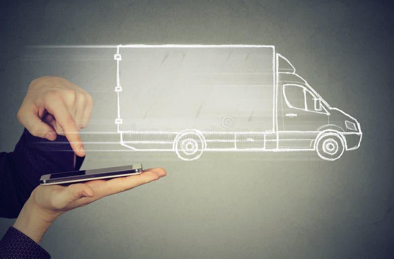 Обслуживание поставки через современную технологию стоковое изображение
