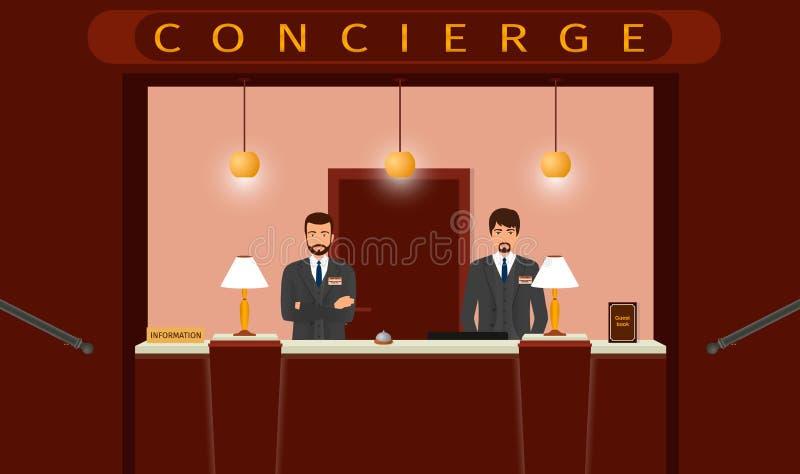 Обслуживание стола консьержа Вид спереди счетчика консьержа гостиницы с работником 2 гостиниц бесплатная иллюстрация