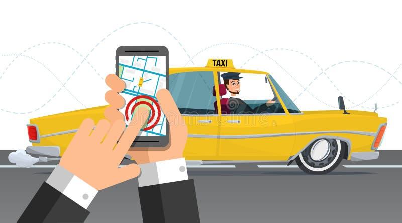 Обслуживание такси Smartphone и сенсорный экран, город Шарж дела иллюстрация вектора