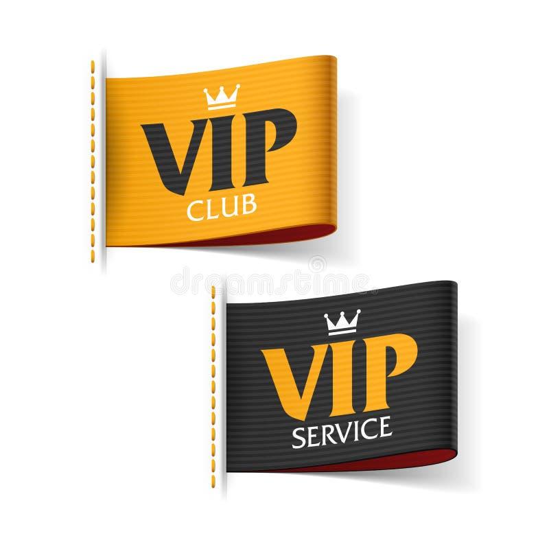 Обслуживание VIP и клуб VIP ярлыки иллюстрация вектора