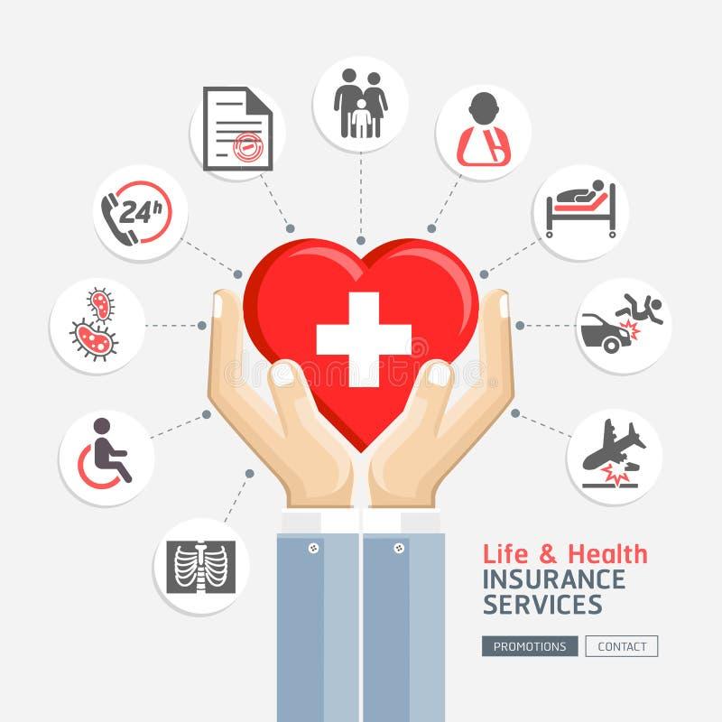 Обслуживания жизни & медицинской страховки иллюстрация штока