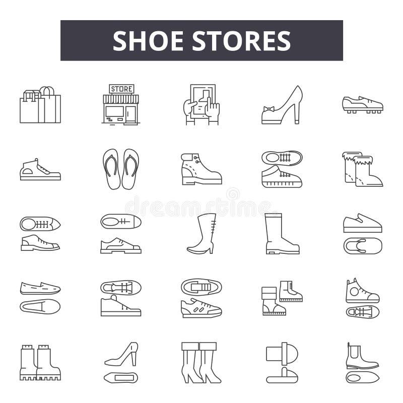 Обувные магазины выравнивают значки, знаки, набор вектора, линейную концепцию, иллюстрацию плана бесплатная иллюстрация