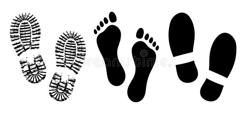 Обуйте подошву, вектор силуэта ботинок следов ноги человеческий, ноги ноги босоногие иллюстрация вектора