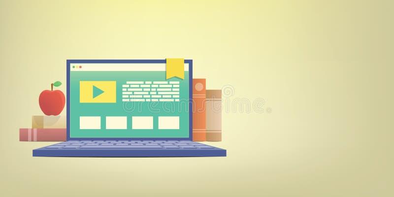 Обучение по Интернетуу знамени при компьтер-книжка, уча через онлайн networ иллюстрация вектора