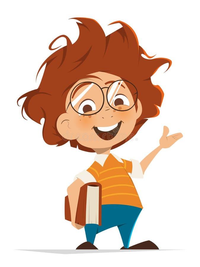 Обучите ребенк с книгой и стеклами указывая рука иллюстрация штока