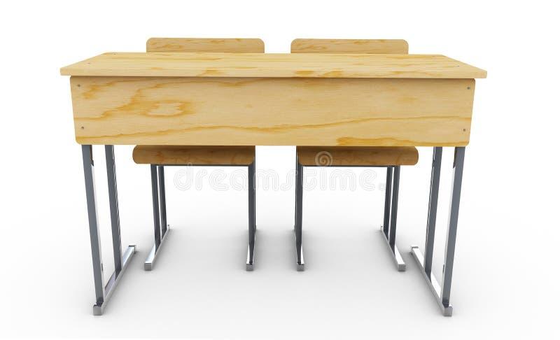 Обучите стол и стулья противостоят на белой предпосылке re 3d иллюстрация штока