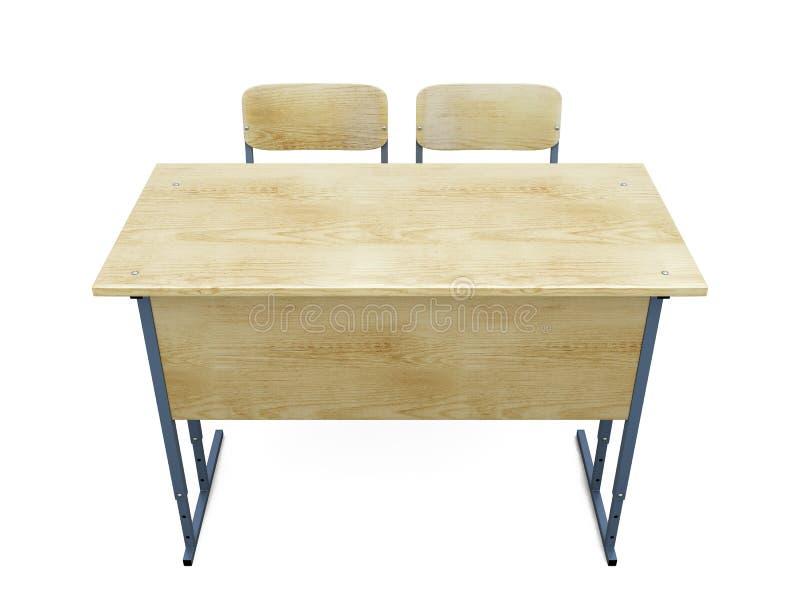Обучите стол с 2 стульями на белизне иллюстрация вектора