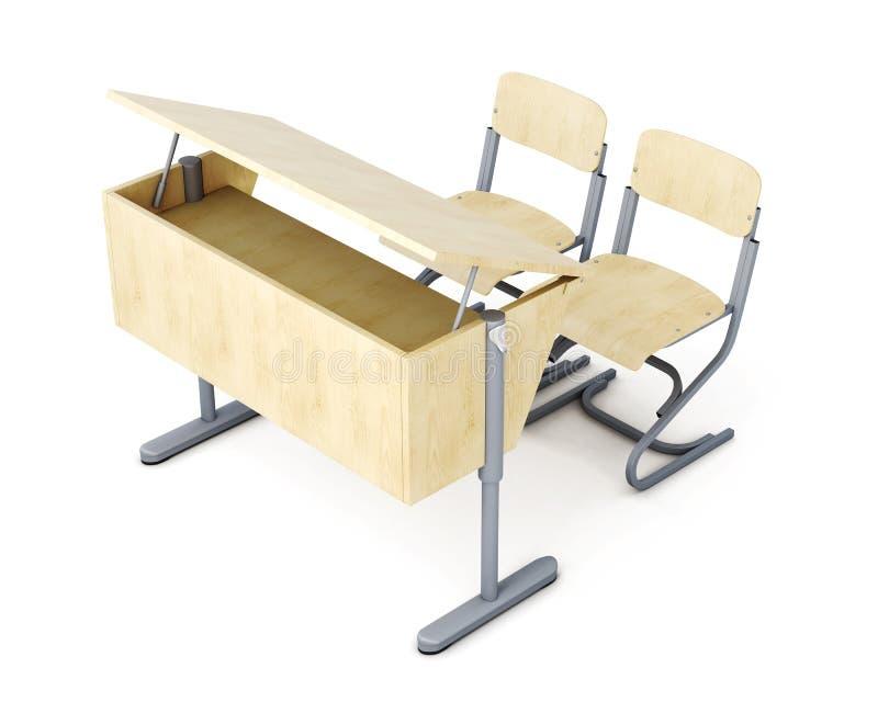 Обучите таблицу и стулья изолированные на белой предпосылке renderi 3D иллюстрация вектора