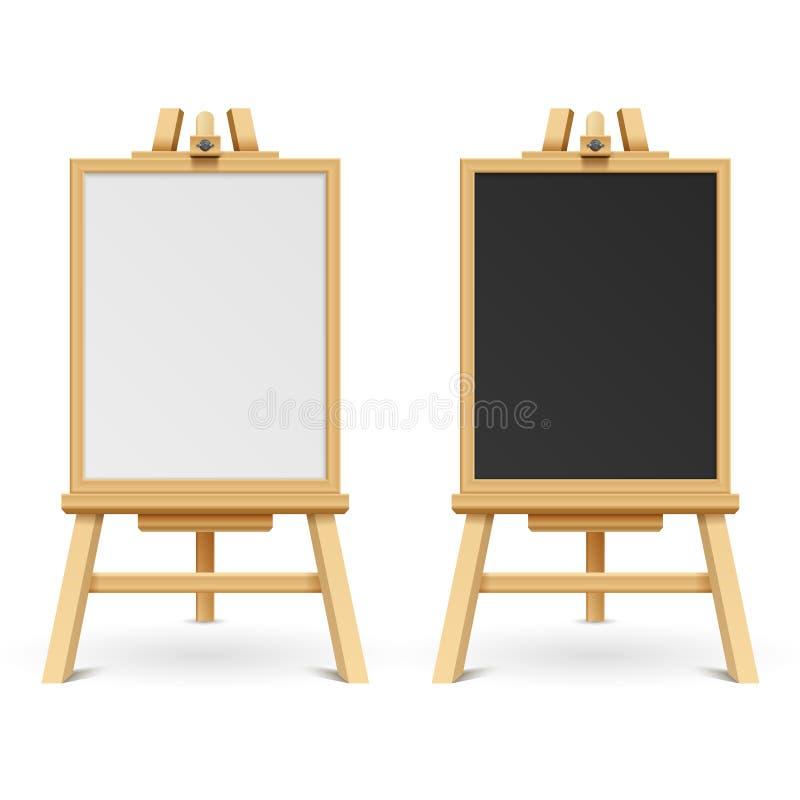 Обучите черно-белые пустые доски на иллюстрации вектора мольберта иллюстрация штока