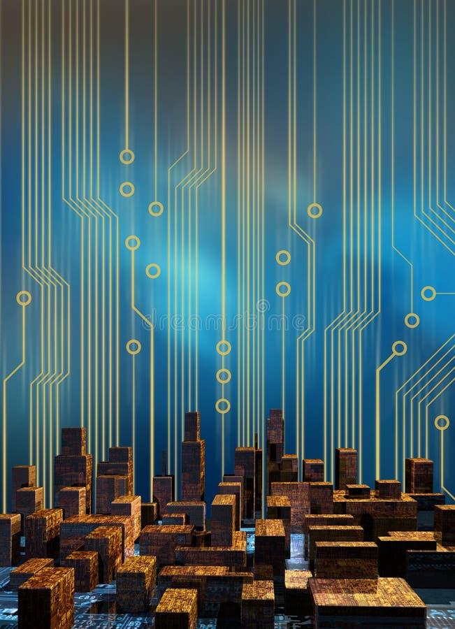 обходит вокруг cyber города иллюстрация вектора