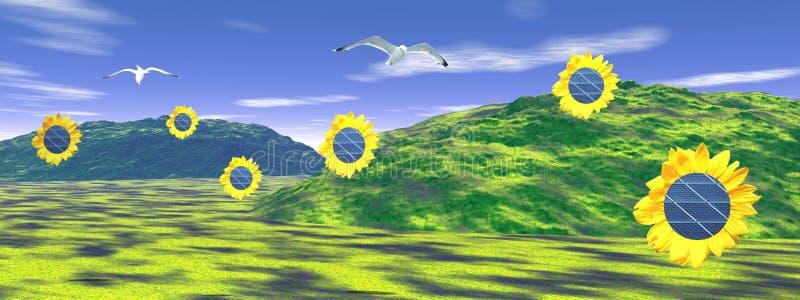 обшивает панелями солнечные солнцецветы иллюстрация штока