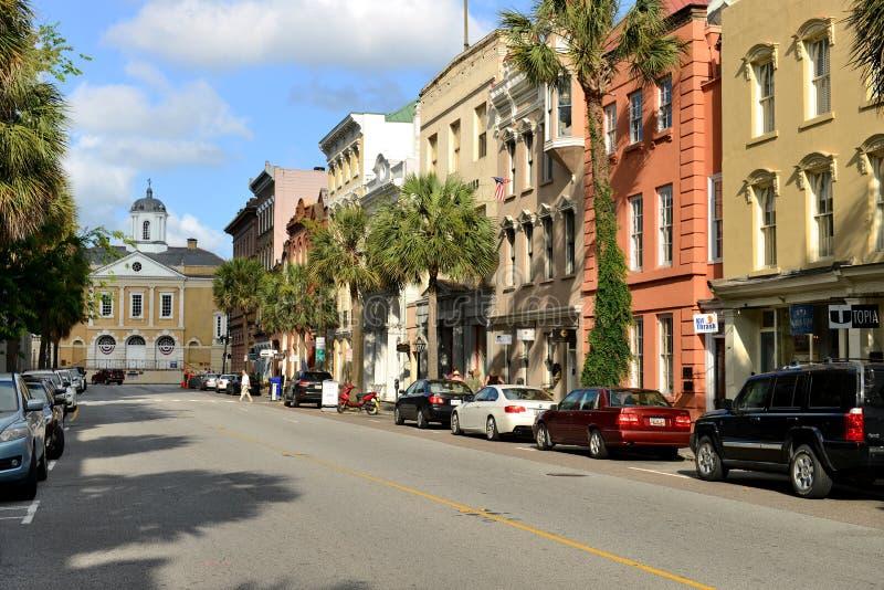 Обширная улица, Чарлстон, SC стоковое изображение