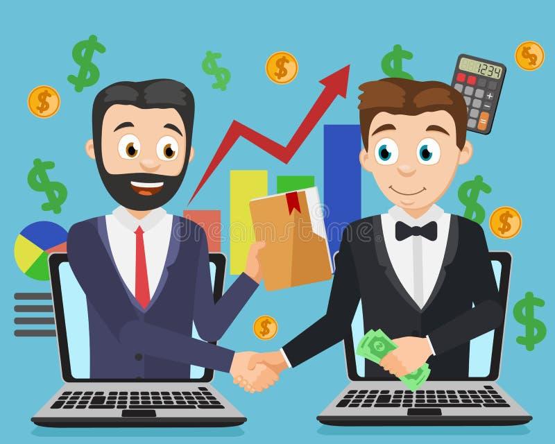 Общайтесь 2 бизнесмена через интернет, рукопожатие Онлайн коммерция иллюстрация штока
