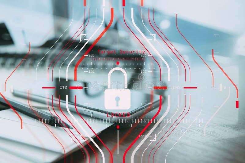 Общая концепция регулировки (GDPR) и безопасности защиты данных C стоковое фото rf