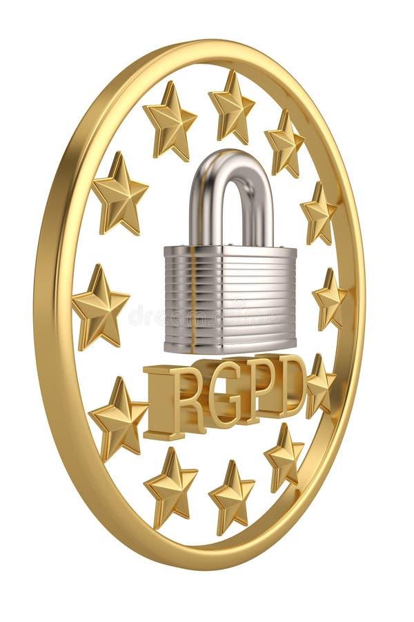 Общая регулировка защиты данных, защита личного d иллюстрация штока