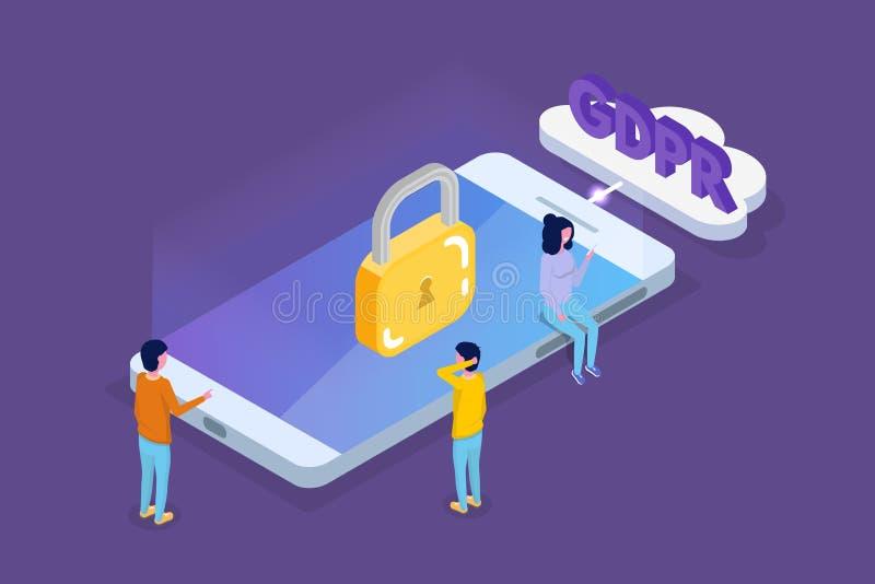 Общая регулировка защиты данных - концепция GDPR равновеликая бесплатная иллюстрация