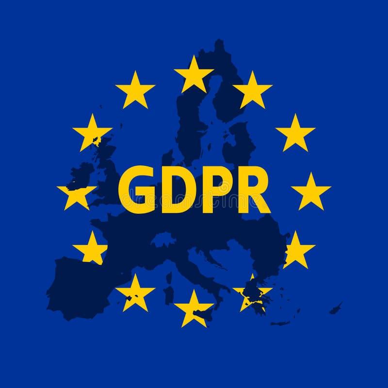 Общая регулировка защиты данных Флаг EC с ярлыком GDPR и Европа составляют карту силуэт также вектор иллюстрации притяжки corel иллюстрация вектора