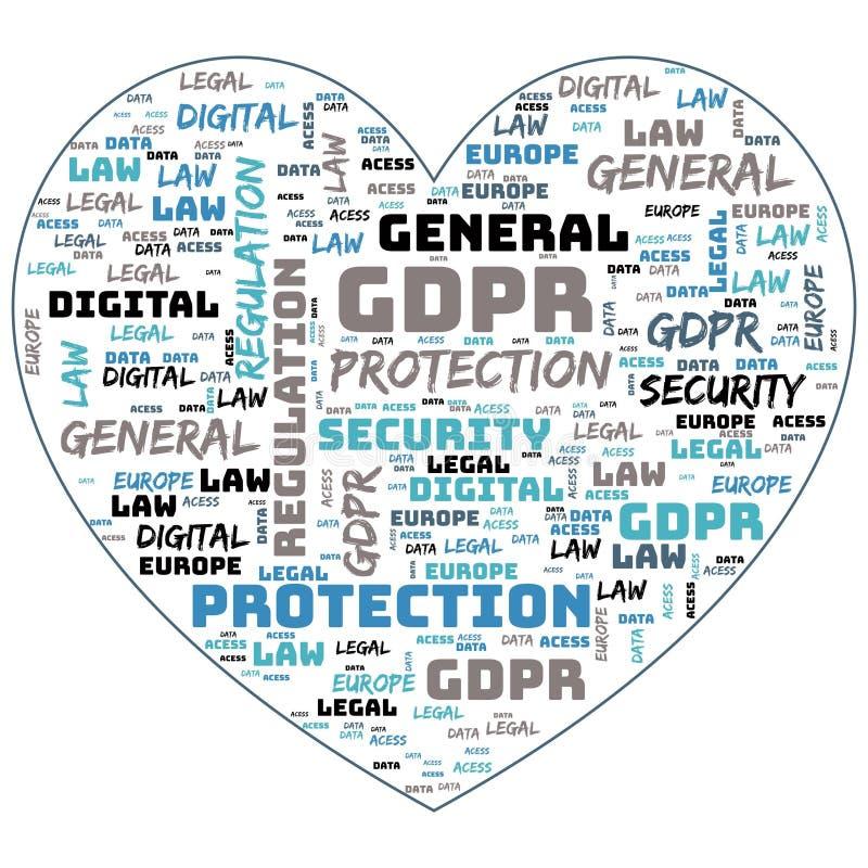 Общая регулировка защиты данных, GDPR, концепция облака слова на белой предпосылке Защита данных и уединение в Европейском союзе бесплатная иллюстрация
