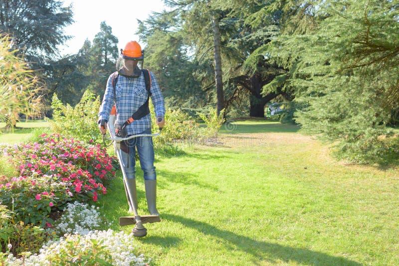 Общего назначения работник с вырезыванием щетки для извлекает траву стоковая фотография rf