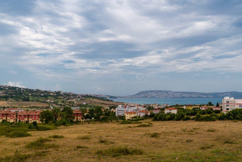 Общее представление о Синопе с Черным морем, Турция стоковые фото