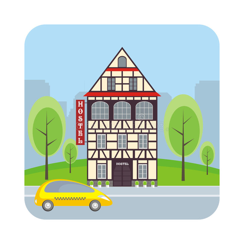 общежитие в баварском доме иллюстрация вектора