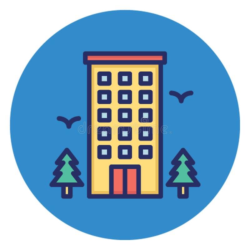 Общежитие, значок вектора гостиницы который может легко редактировать иллюстрация вектора