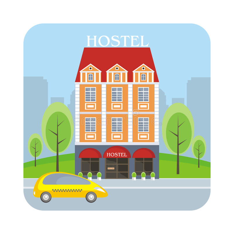 общежитие и большой город иллюстрация вектора