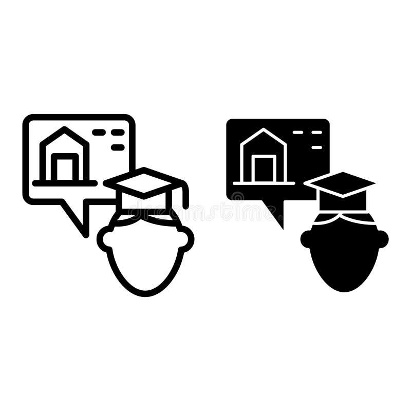 Общежитие и постдипломные линия и значок глифа Постдипломная иллюстрация вектора парня и спальни изолированная на белизне Студент бесплатная иллюстрация
