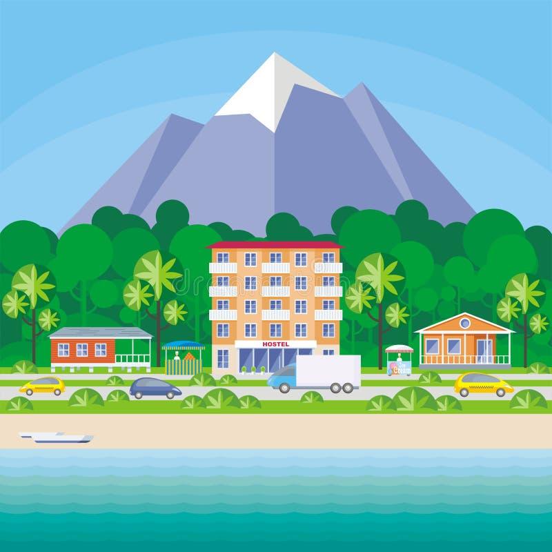 Общежитие и пляжные домики иллюстрация штока
