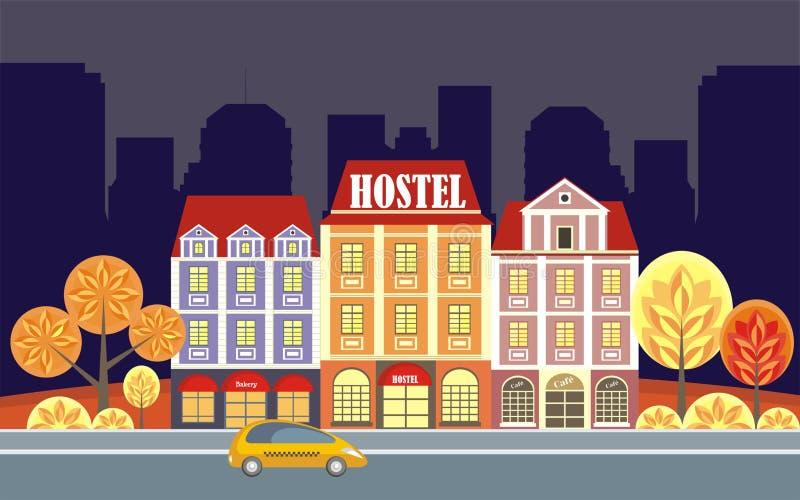 общежитие и старые дома иллюстрация штока