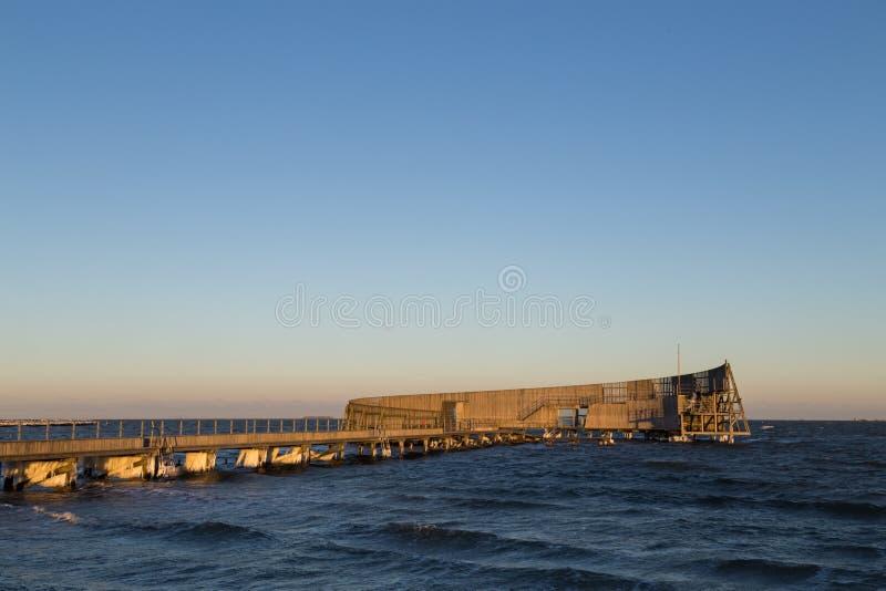 Общественная купая пристань на пляже Amager в Копенгагене стоковые фото