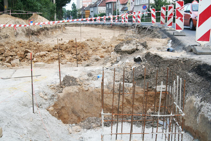Общественное место строительства дорог стоковое изображение