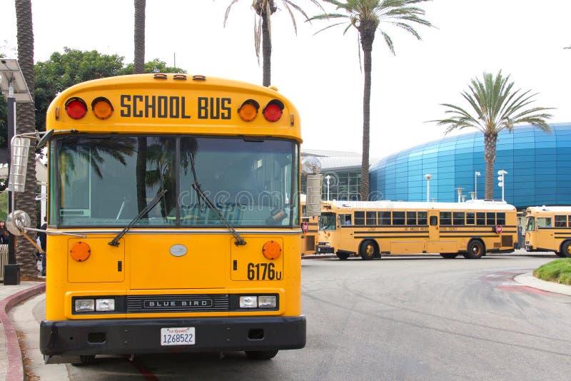 Общественные школьные автобусы выстроились на улице стоковое фото