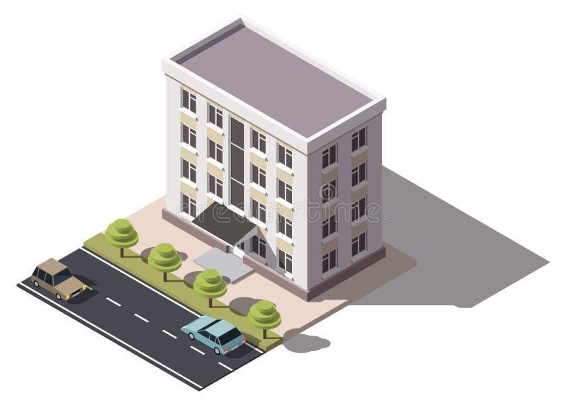 Общественный жилой дом isometry иллюстрация вектора
