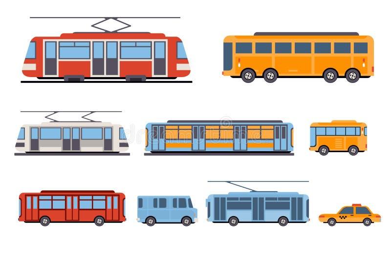 Общественный набор перехода города, такси, автобус, метро, иллюстрации вектора трамвая на белой предпосылке иллюстрация штока