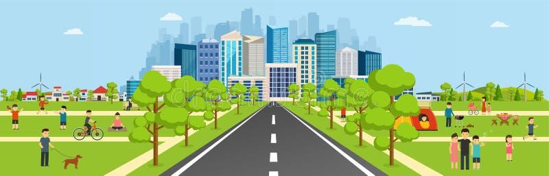 Общественный парк при дорога водя к современному большому городу иллюстрация вектора