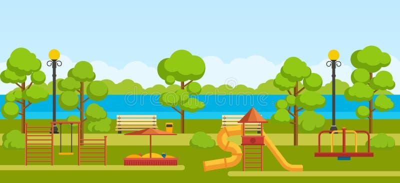 Общественный парк с спортивной площадкой детей бесплатная иллюстрация