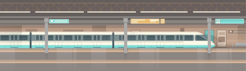 Общественный транспорт города трамвая метро современный, подземная станция железной дороги иллюстрация штока