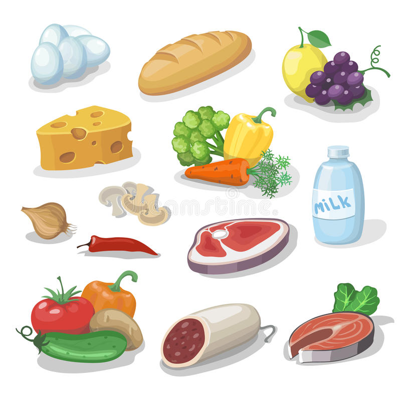 Общие ежедневные продукты питания Установленные значки шаржа обеспечат, сыр и рыбы, сосиска, молоко, иллюстрация вектора хлеба иллюстрация вектора
