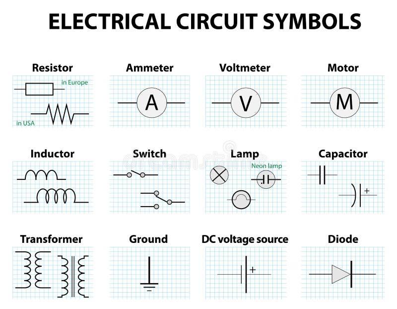 Общие символы принципиальной схемы иллюстрация штока