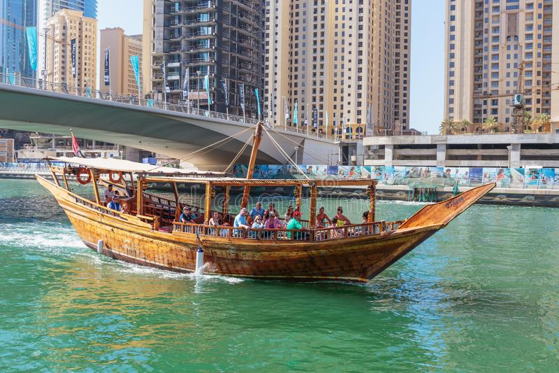 Общий вид портового района на Марине Дубай стоковые изображения