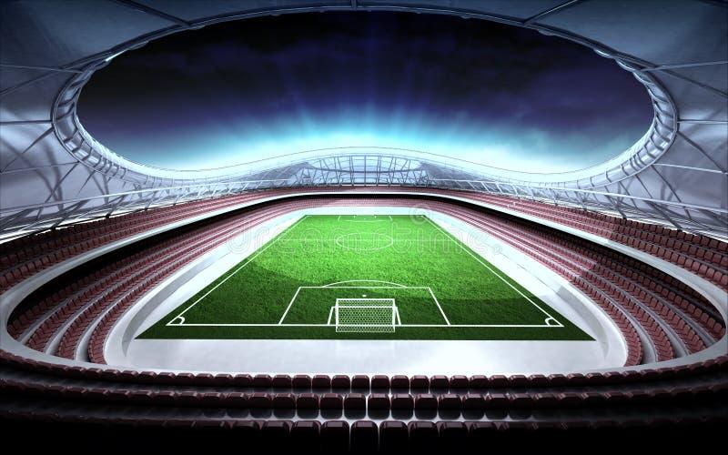 Общий вид футбольного стадиона с пасмурной предпосылкой иллюстрация вектора