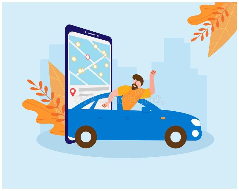 Общий доступ к автомобилям Человек ездит в синей машине, бежающей от холодов осени На экране смартфона находится карта выбора иллюстрация штока