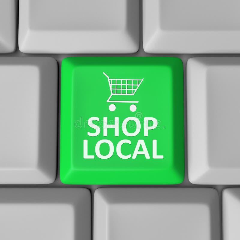 Община поддержки магазинной тележкаи ключа местного компьютера магазина иллюстрация вектора