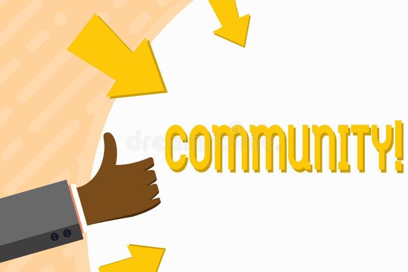 Община текста сочинительства слова Концепция дела для руки группы единства союзничества присоединения государства ассоциации райо иллюстрация вектора